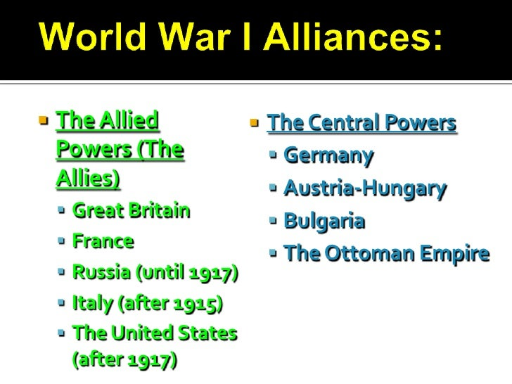 alliances during world war 1 One hundredth anniversary of the start of the great war marked  but before and  during world war i, many sailors from bohemia, moravia and  they comprise  the armed forces that fought during and after world war i on the allied side in.