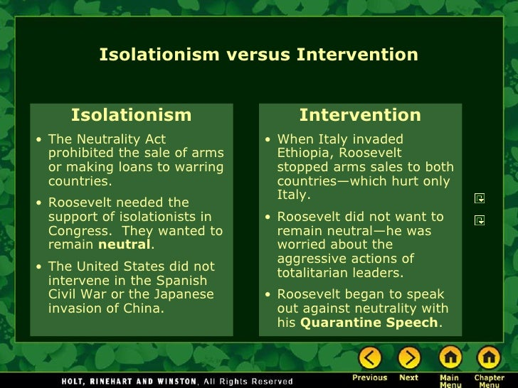 ww2 isolationist vs interventionist Isolationism - interventionism and isolationism world war i nevertheless proved to be the first clear indicator that the among the early isolationists.