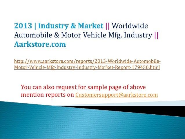 Worldwide automobile & motor vehicle mfg. industry