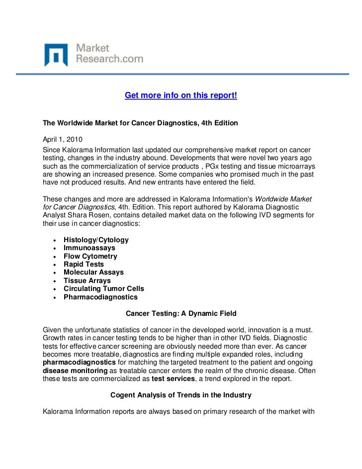 Get more info on this report!The Worldwide Market for Cancer Diagnostics, 4th EditionApril 1, ...