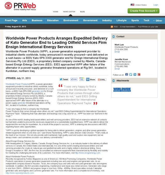 WPP Arranges Expedited Delivery of Kato Generator End to Leading Oilfield Services Firm