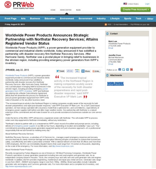 WPP, A Power-generation Equipment Provider, Solidifies Partnership with Disaster Recovery Firm Northstar Recovery Services