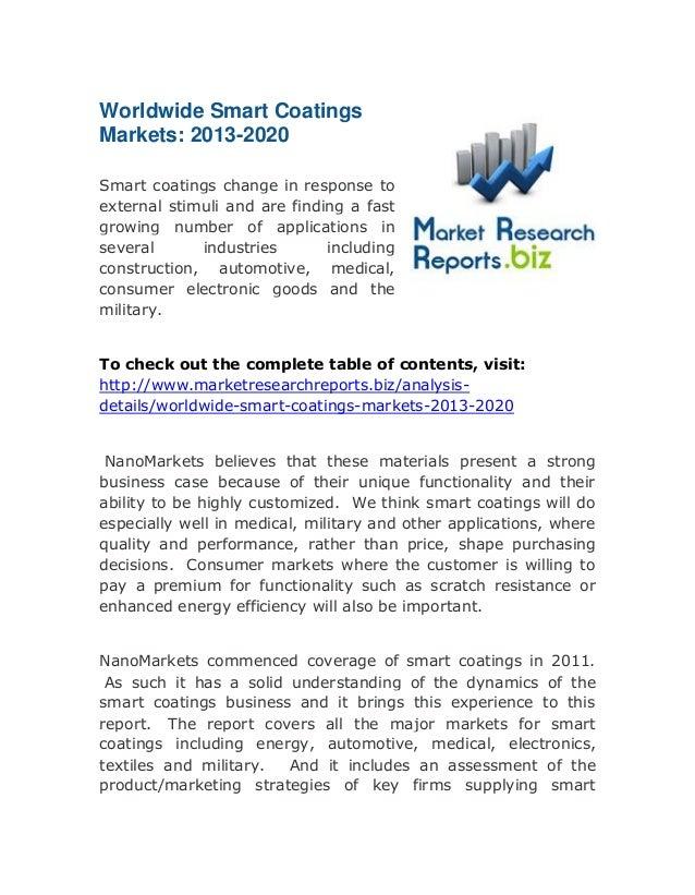 Worldwide Smart Coatings Markets: 2013-2020: Available At MarketResearchReports.biz