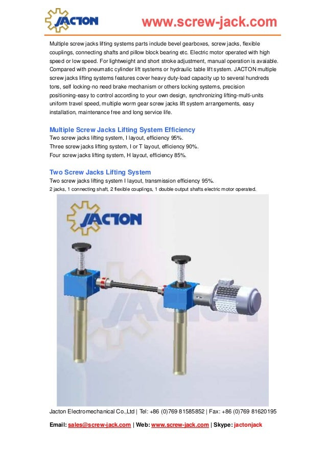 Jacton Electromechanical Co.,Ltd | Tel: +86 (0)769 81585852 | Fax: +86 (0)769 81620195 Email: sales@screw-jack.com | Web: ...