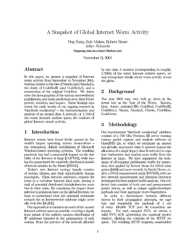 A Snapshot of Global Internet Worm Activity