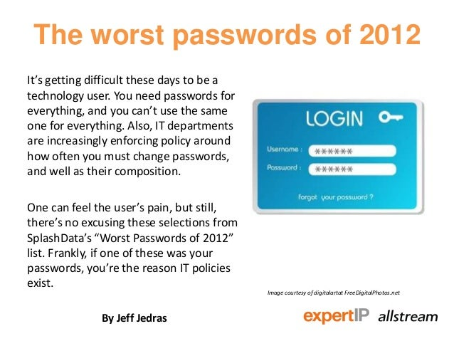 The worst passwords of 2012It's getting difficult these days to be atechnology user. You need passwords foreverything, and...