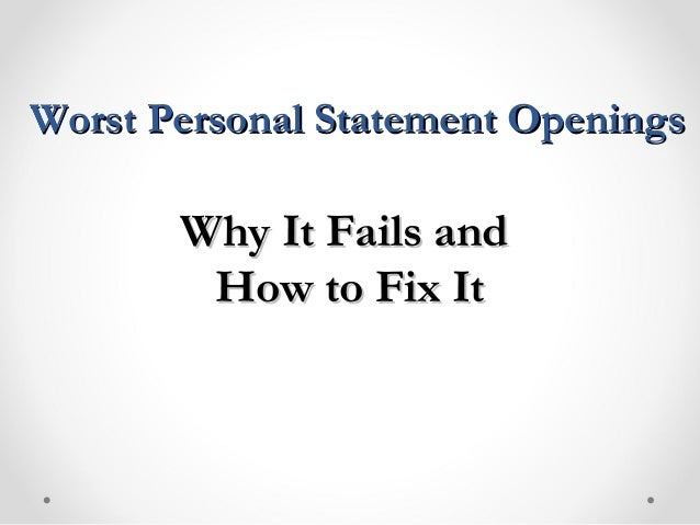 Good personal statement openings