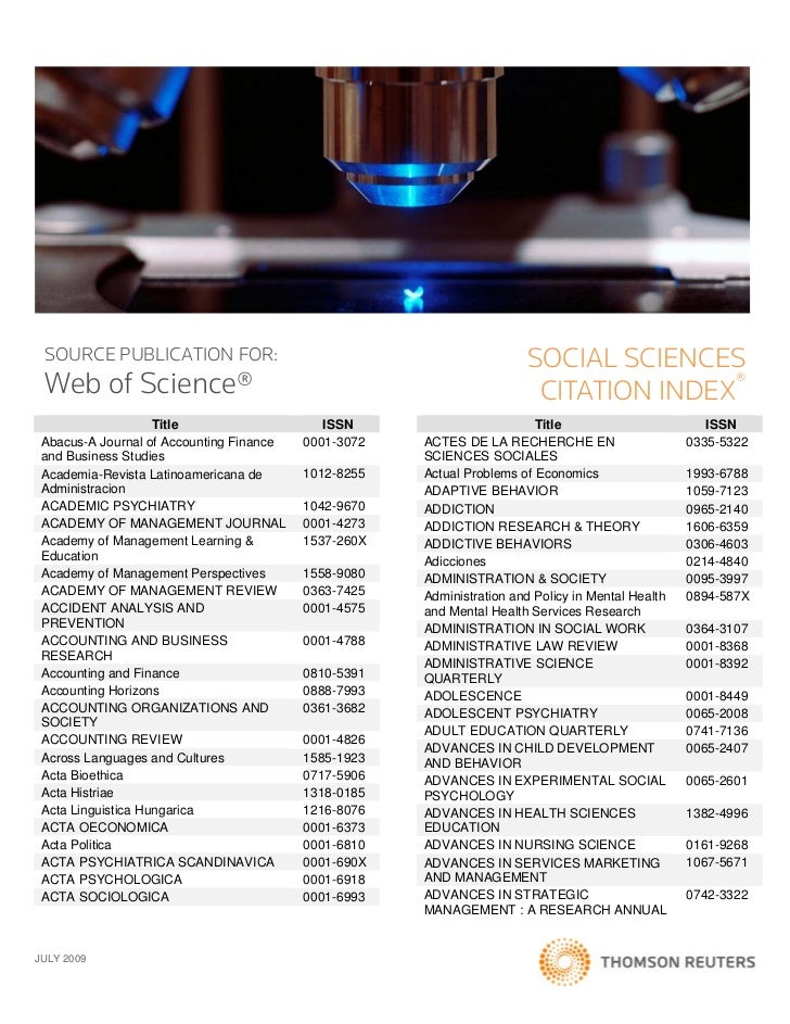SOURCE PUBLICATION FOR:                                               SOCIAL SCIENCES Web of Science®                     ...