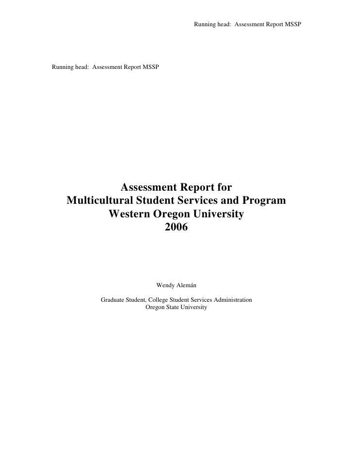 Running head: Assessment Report MSSP     Running head: Assessment Report MSSP                   Assessment Report for     ...