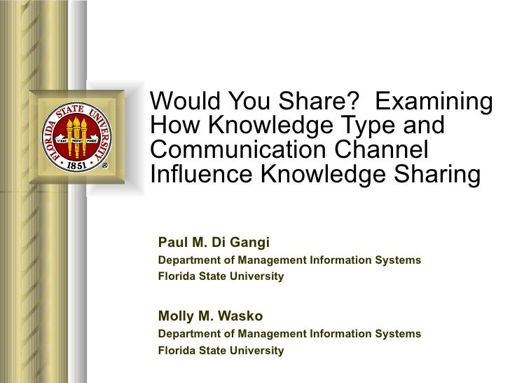 Would You Share?  Examining How Knowledge Type and Communication Channel Influence Knowledge Sharing Paul M. Di Gangi Depa...