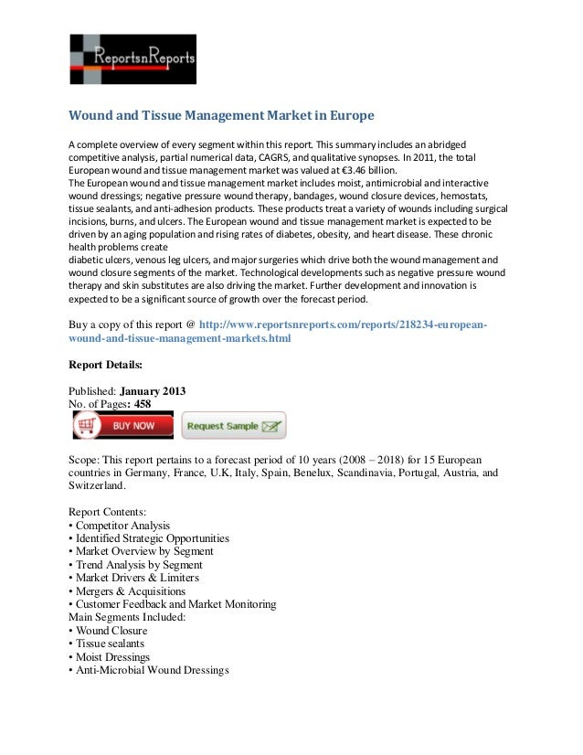 Wound and Tissue Management Market in EuropeA complete overview of every segment within this report. This summary includes...