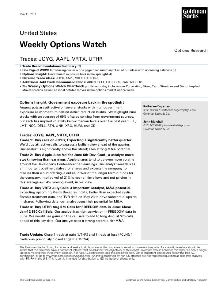 May 11, 2011United StatesWeekly Options Watch                                                                             ...