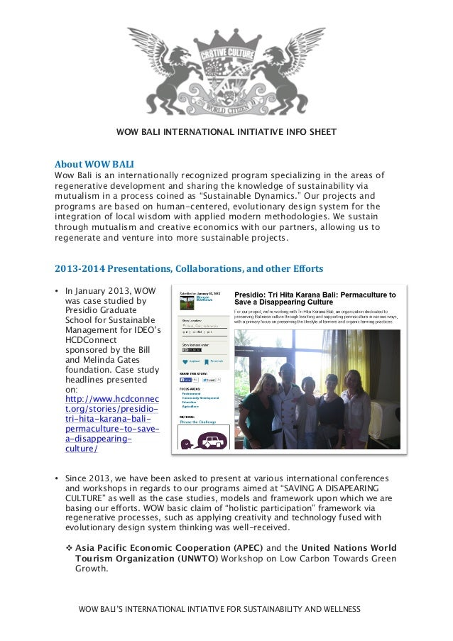 WOW BALI'S INTERNATIONAL INTIATIVE FOR SUSTAINABILITY AND WELLNESS WOW BALI INTERNATIONAL INITIATIVE INFO SHEET About  W...