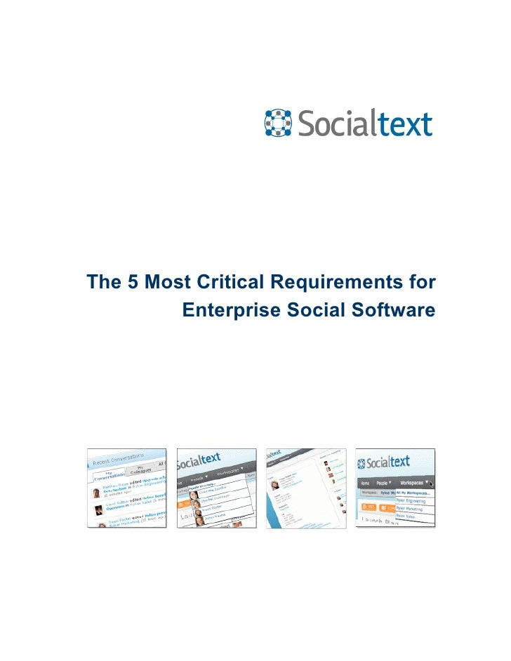 5 Requirements For Enterprise Social Software