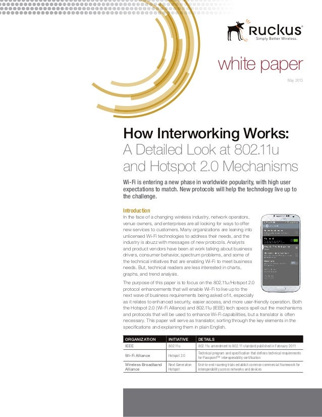 white paper How Interworking Works: A Detailed Look at 802.11u and Hotspot 2.0 Mechanisms Wi-Fi is entering a new phase in...
