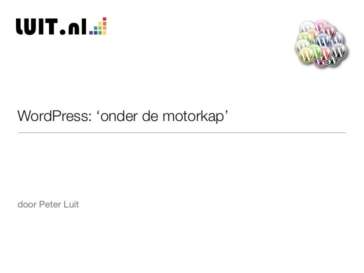 WordPress: 'onder de motorkap'door Peter Luit
