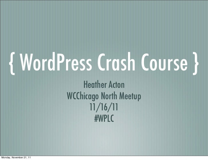WordPress Crash Course