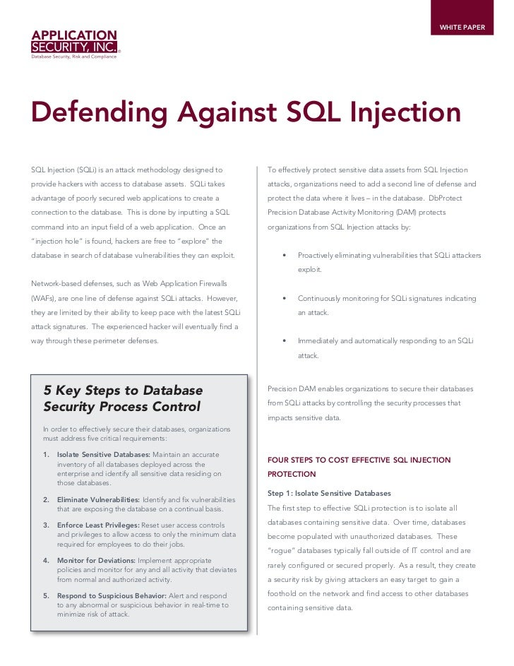WHITE PAPERDefending Against SQL InjectionSQL Injection (SQLi) is an attack methodology designed to             To effecti...
