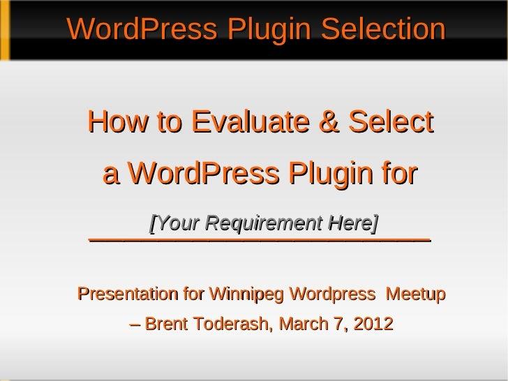 Selecting A WordPress Plugin