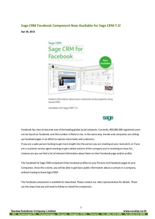 Sage CRM Facebook Component for Sage CRM 7.2