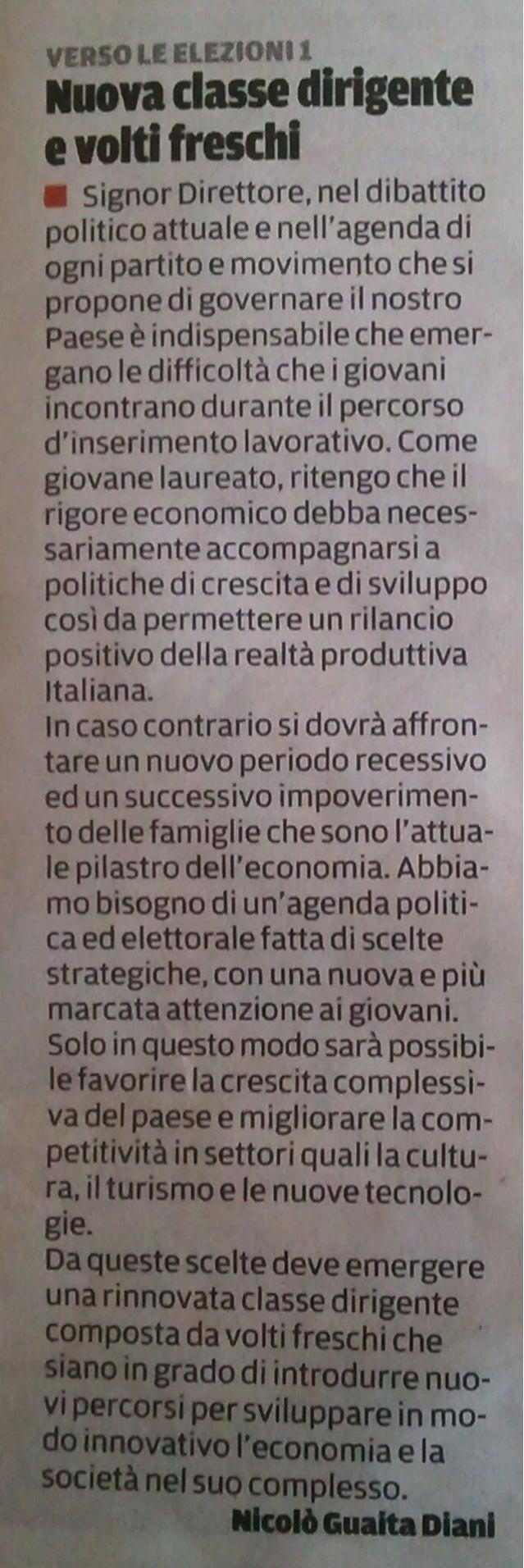 Nuova Classe Dirigente e Volti Freschi [La Repubblica, La Gazzetta di Mantova 12-01-13]