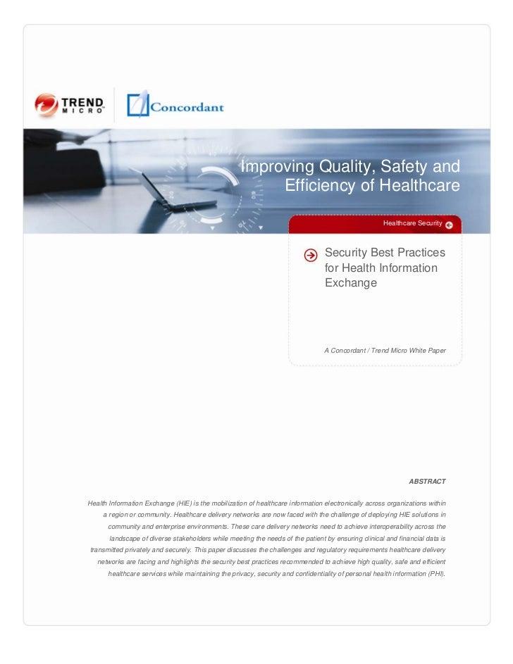 Security Best Practices for Health Information Exchange