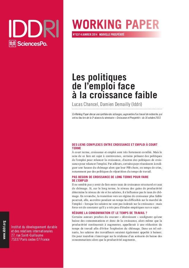 Institut du développement durable  et des relations internationales  27, rue Saint-Guillaume  75337 Paris cedex 07 France ...