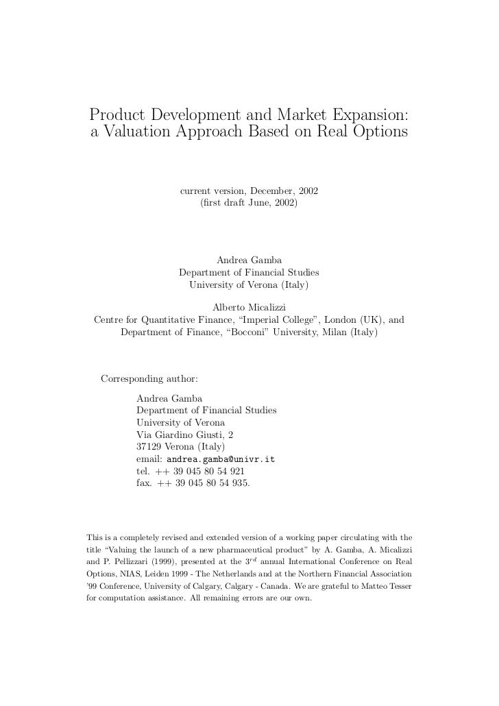Product Development and Market Expansion:a Valuation Approach Based on Real Options                         current versio...