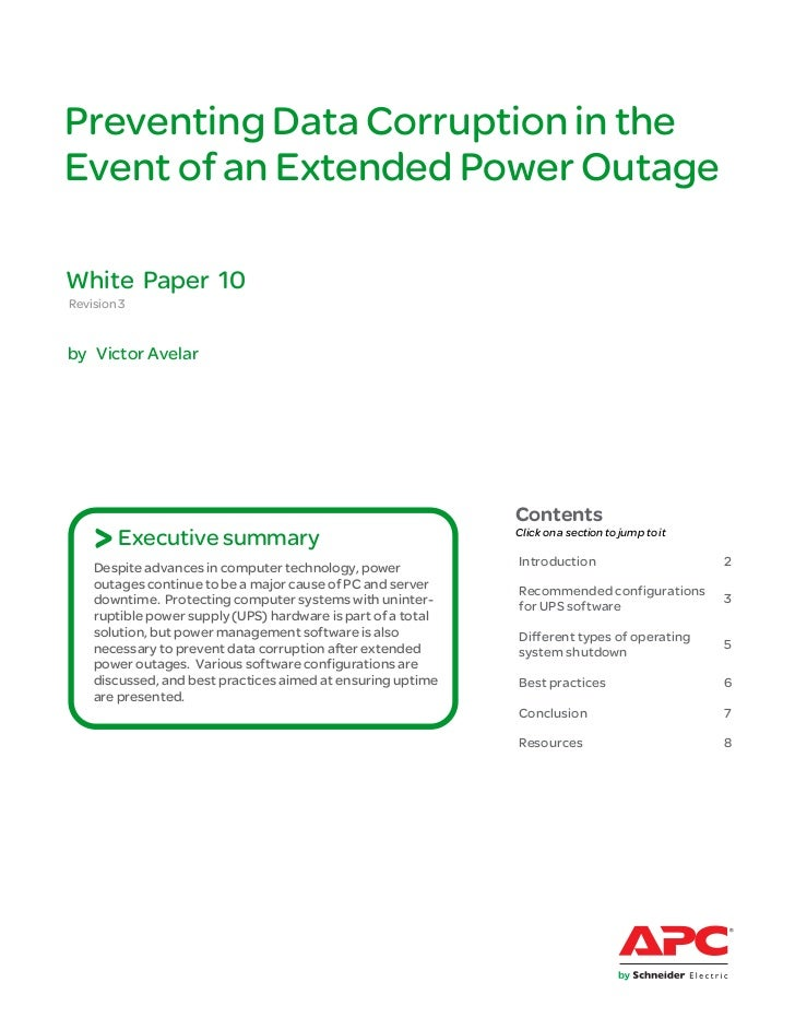 Preventing Data Corruption in theEvent of an Extended Power OutageWhite Paper 10Revision 3by Victor Avelar                ...