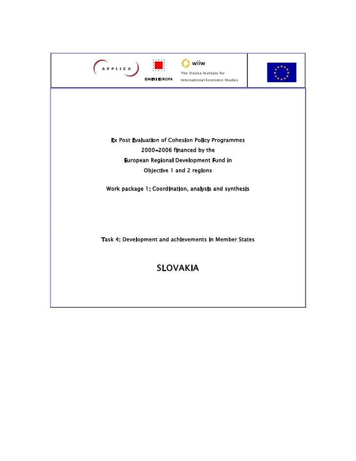 Ex post evaluation of cohesion policy programmes 2000 - 2006