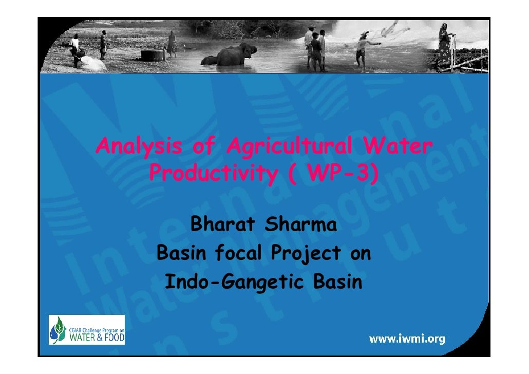 Analysis of Agricultural Water      Productivity ( WP-3)          Bharat Sharma      Basin focal Project on       Indo-Gan...