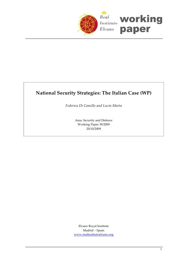 National Security Strategies: The Italian Case...