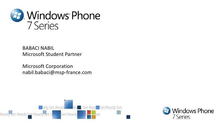 BABACI NABILMicrosoft Student PartnerMicrosoft Corporationnabil.babaci@msp-france.com