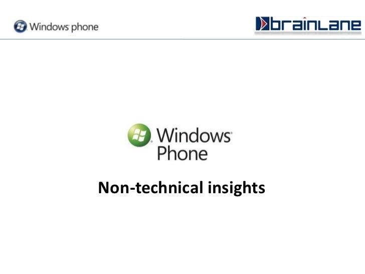 Non-technical insights<br />