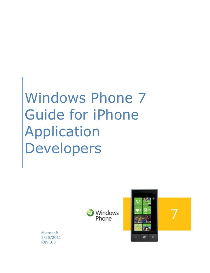 Wp7 guide for i phone app developers