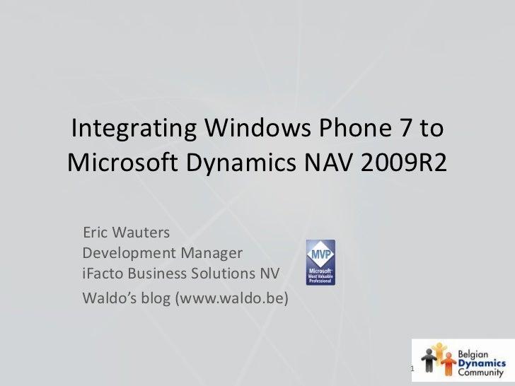 Dynamics NAV, Windows Azure & Windows Phone 7, Eric Wauters