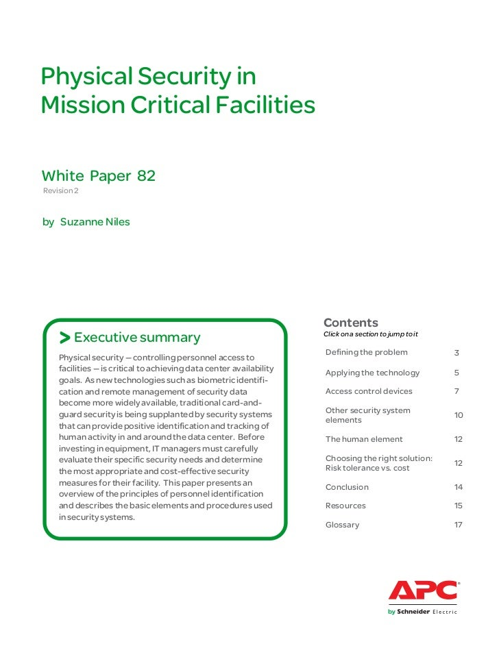 Physical Security inMission Critical FacilitiesWhite Paper 82Revision 2by Suzanne Niles                                   ...