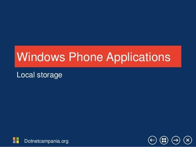 Windows Phone Applications Local storage  Dotnetcampania.org