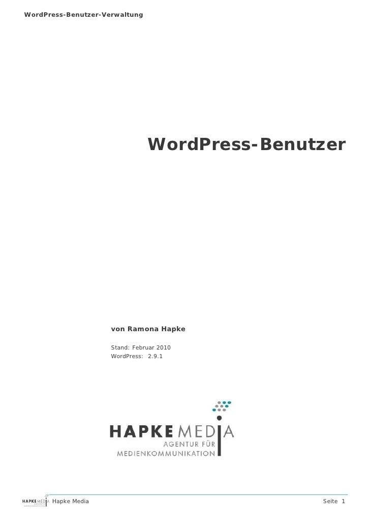 WordPress-Benutzer-Verwaltung                                     WordPress-Benutzer                          von Ramona H...