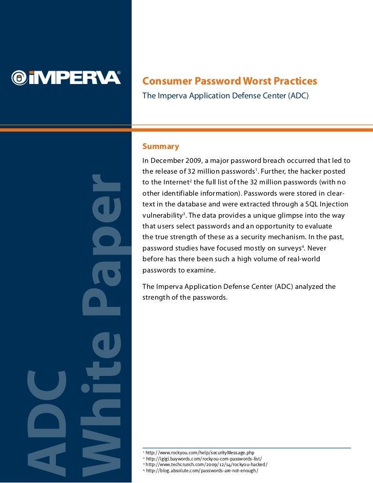 Consumer Password Worst Practices
