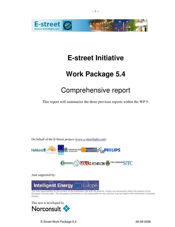 -1–                                           E-street Initiative                                       Work Package 5.4  ...