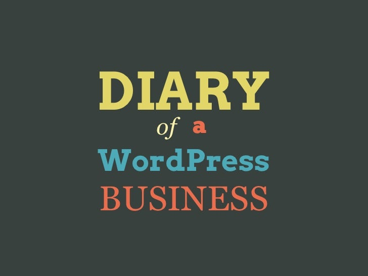 Diary of a WordPress business
