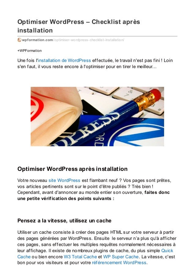 Optimiser WordPress – Checklist après installation wpformation.com/optimiser-wordpress-checklist-installation/ +WPFormatio...