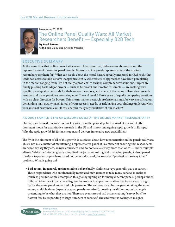 For B2B Market Research Professionals               November 20, 2009              The Online Panel Quality Wars: All Mark...
