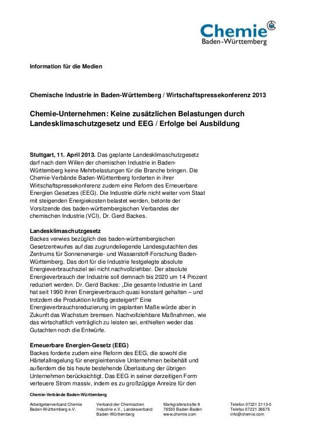 Information für die MedienChemische Industrie in Baden-Württemberg / Wirtschaftspressekonferenz 2013Chemie-Unternehmen: Ke...