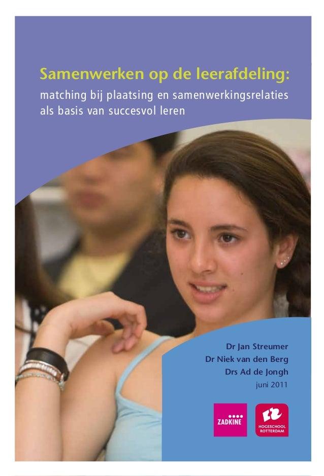 Samenwerken op de leerafdeling:matching bij plaatsing en samenwerkingsrelatiesals basis van succesvol leren               ...