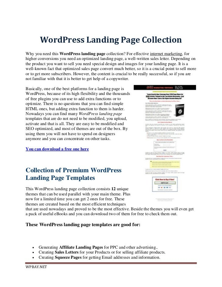 WordPress Landing Page CollectionWhy you need this WordPress landing page collection? For effective internet marketing, fo...