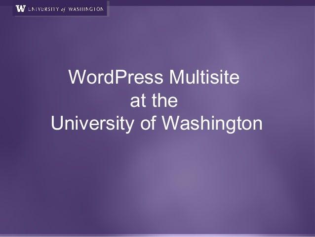 WordPress Multisite at the University of Washington