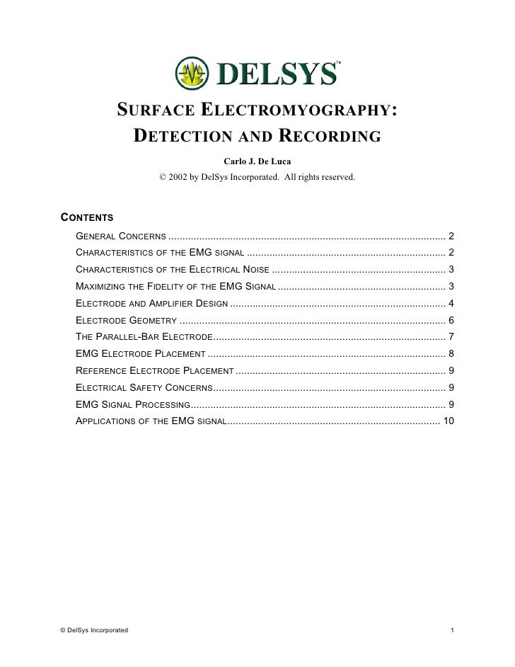 SURFACE ELECTROMYOGRAPHY:                   DETECTION AND RECORDING                                                   Carl...