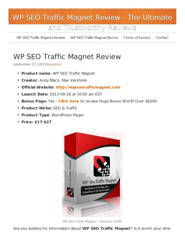 WP SEO Traffic Magnet Review - Huge Bonus $6200